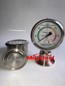 伊米勒卡箍式隔膜壓力表#316L衛生級隔膜閥壓力表#充油耐震隔膜閥壓力表
